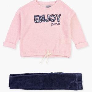 Σετ πουλόβερ Enjoy ροζ μπλε Losan