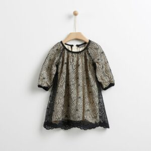 Φόρεμα με δαντέλα μαύρη YELL-OH