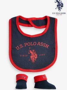 Set Bib And Booties Blue/grey U.S.Polo