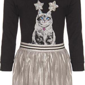 Σετ φούστα πλισέ ασημί με μαύρο μακρυμάνικο μπλουζάκι γάτα Madarino