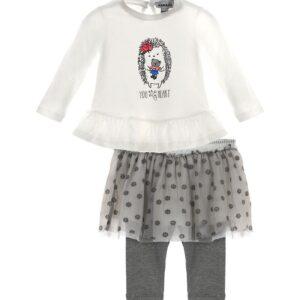 Σετ φούστα μπλούζα γκρι λευκό με φιγούρα Marasil
