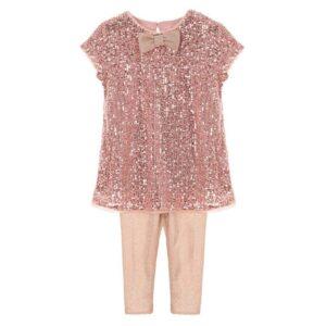 Σετ φόρεμα ροζ με παγιέτα και κολάν Marasil