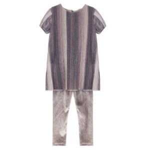 Set μπλουζοφόρεμα πλισσέ με κολάν Velour Silver Marasil