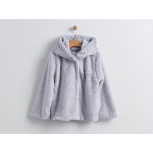 Παλτό γούνινο γκρι με ασημί λεπτομέρειες Yell-oh