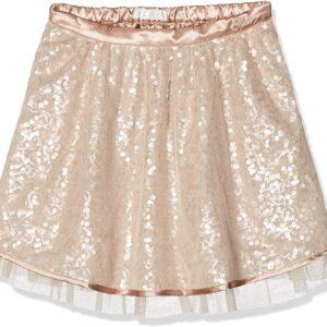 Φούστα ροζ χρυσό με παγέτα και τούλι Guess