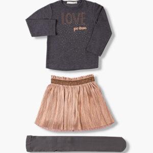 Σετ φούστα ροζ χρυσό με μακρυμάνικη γκρι μπλούζα