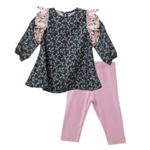 Σετ μπλούζα φλοράλ με ροζ κολάν Two In A Castle
