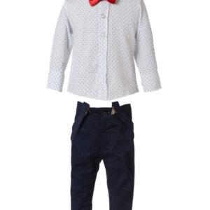Set 4pcs παντελόνι με τιράντες-πουκάμισο με παπιγιόν Energiers