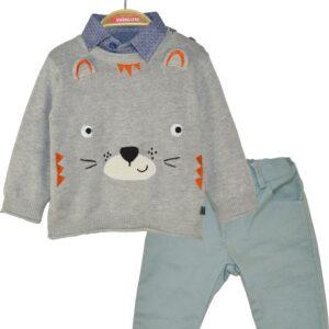 Set 2pcs πουλόβερ με παντελόνι Denim Grey ελαστικό Energiers