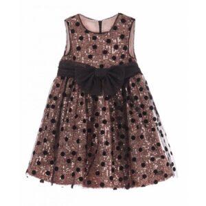 Φόρεμα Pink Sequins Black τούλι πουά Marasil