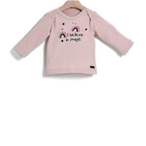 Μπλούζα Μ/Μ Cotton Dusty Pink Print Rainbow Yell-oh