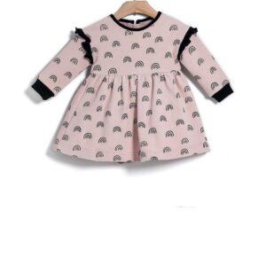 Φόρεμα βολάν Dusty Pink Print Rainbows Yell-oh