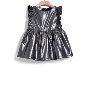 Φόρεμα πλισέ αμάνικο ματαλλιζέ Yell-oh