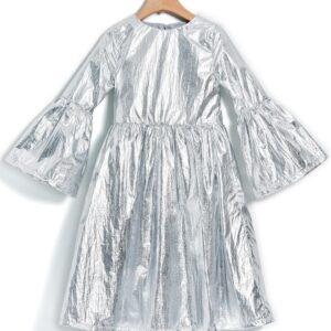 Φόρεμα μακρύ μεταλλιζέ ασημί Yell-oh