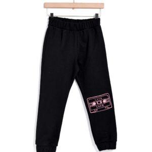 Παντελόνι φούτερ μαύρο με κέντημα Tape Yell-oh