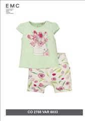 SET T-SHIRT-SHORT FLORAL BABY GIRL EMC