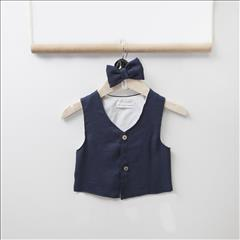 VEST-BOW TIE BLUE NAVY CANVAS BEBE TWO IN A CASTLE