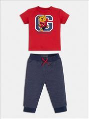 SET T-SHIRT RED BEAR-VERMOUDA COTTON BABY BOY GUESS