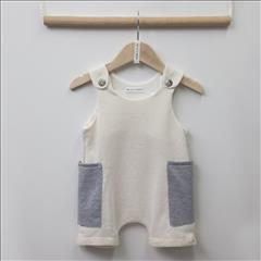 OVERALL SHORT BEIGE-GREY&CAP BEBE TWO IN A CASTLE