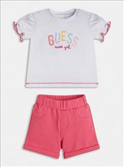 SET T-SHIRT-SHORT GLITTER BABY GIRL GUESS