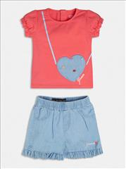 SET T-SHIRT-SHORT SOFT DENIM BABY GIRL GUESS