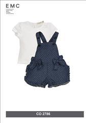 SET OVERALL SHORT DENIM-T-SHIRT BABY GIRL EMC