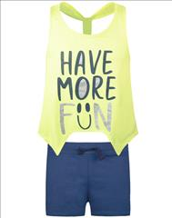 SET TOP-SHORT COTTON FLUO HAVE MORE FUN GIRL ENERGIERS