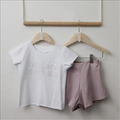 SET T-SHIRT WHT-LINEN SHORT GIRL TWO IN A CASTLE