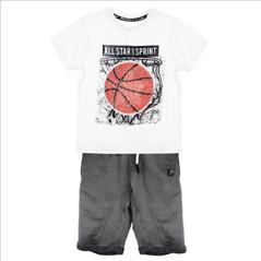 SET T-SHIRT-SHORT BASKET 2CLRS BOY SPRINT S6-16