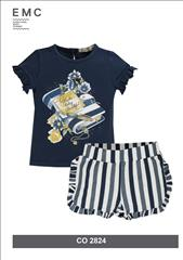 SET T-SHIRT-SHORT GLITTER STRIPPED GIRL EMC
