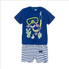 SET T-SHIRT-SHORT STRIPPED MASK BABY BOY SPRINT