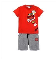 SET T-SHIRT RED-SHORT COTTON SHARK BABY BOY SPRINT