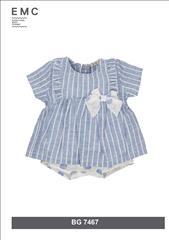 OVERALL DRESS SOFT DENIM STRIPPED BABY GIRL EMC