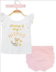 SET 3PCS T-SHIRT-SHORT-HEADBAND MERAMID BABY GIRL ENERGIERS