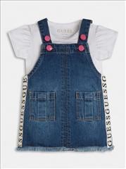 SET OVERALL DRESS DENIM-T-SHIRT BABY GIRL GUESS