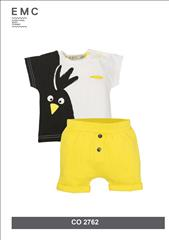 SET COTTON  T-SHIRT PEGUIN-SHORT YELLOW BABY BOY EMC