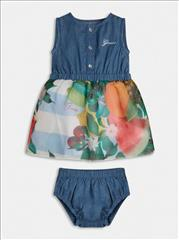 DRESS FRUIT PRINT WITH DENIM DETAIL BABY GIRL GUESS