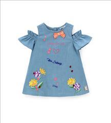 DRESS SOFT DENIM FLOWER DETAIL BABY GIRL ORIG.MARINES