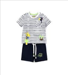 SET T-SHIRT STRIPPED-SHORT PARROT BABY BOY ORIG.MARINES