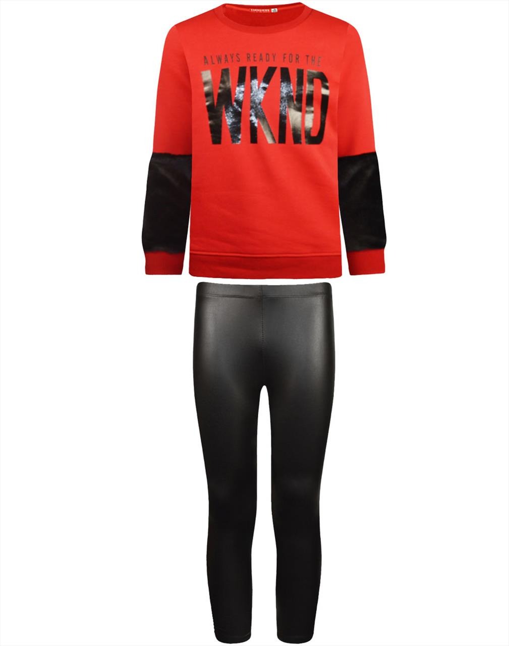 SET LEATHER LEGGING -TSHIRT RED GIRL BY ENERGIERS