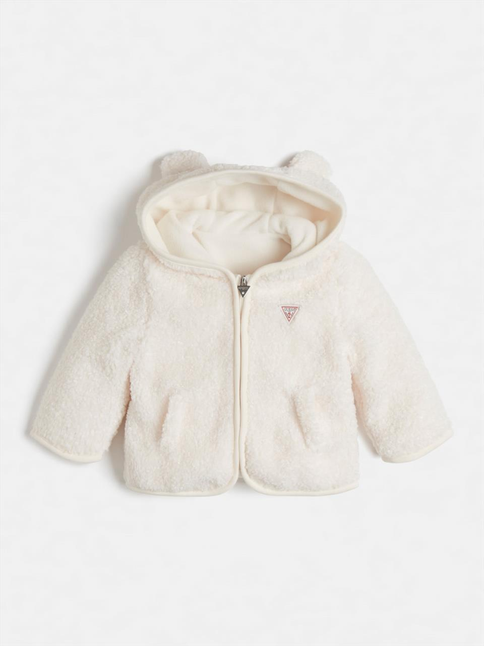 JACKET FLUFFY IVORY BABY GUESS